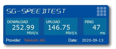 Speedtest mit 5G und einem CPE2 Pro Router in Leipzig